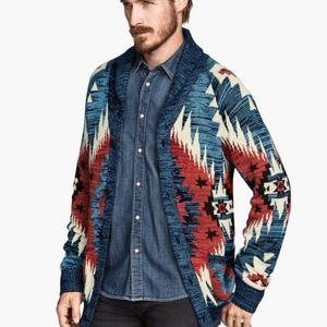 H&M Jaquard Tribal Cardigan  Sweater